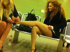 hawt clothed horny cuties at the subway station in hose, miniskirt and high heeels. Due some problems in the past this is a reupload, sorry