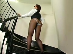 Very pretty and quite leggy Japanese babe in nylon pantyhose allows her ass and legs to be filmed in this voyeur upskirt video and she looks incredibl