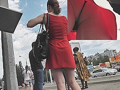 The cutie in this street upskirt episode looks really irresistible in her sassy red mini suit. Lets take a worthy look up that costume and discover ou