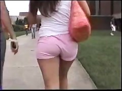 An astonishing brunette hair in pink shorts filmed at The University of Central Florida in Orlando.