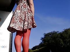 red stockings windy dress