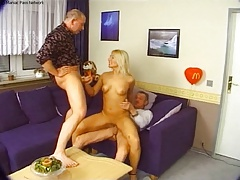 Two oldguys fuck gorgeous blond bitch