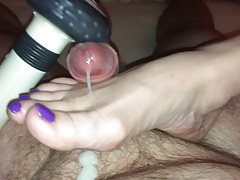 Cumming on wife's purple toes
