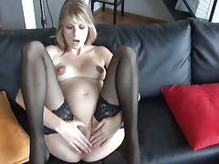 Pregnant Blonde In Stockings